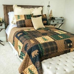 RUSTIC LODGE REVERSIBLE BROWN BEAR CABIN PATCHWORK-LOOK QUILT SET DONNA SHARP