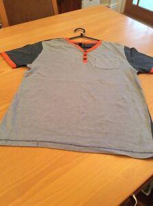 boys clothes 11-12 years Flipback Blue Cotton Orange Trim Short Sleeve T-Shirt