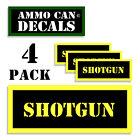 """SHOTGUN Ammo Can 4x Labels Ammunition Case 3""""x1.15"""" stickers decals 4 pack YW"""