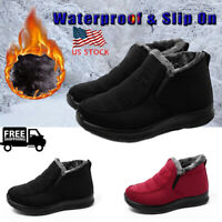 Waterproof Women Slip On Snow Boots Fur Lined Winter Warm Casual Cotton Shoes US