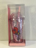 USA Shipment BT21 TATA BON VOYAGE GLITTER COLD TUMBLER Authentic Size 16 fl Oz