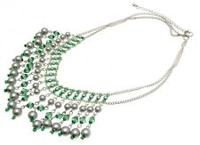 Ladies Fashion Necklace in a White Coloured Metal and Green Plastic Bead