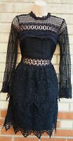 MISS SELFRIDGE BLACK LACE CROCHET RUFFLE A LINE LONG SLEEVE PARTY DRESS 8 S