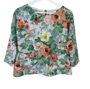Anthropologie HD In Paris Small Floral Bloomfield Top Pockets Boxy Back Zipper