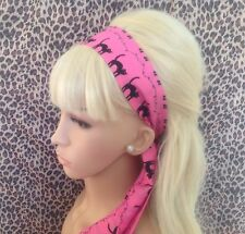 NEW PINK BLACK CAT PRINT NOVELTY RETRO COTTON HEAD HAIR BAND SELF TIE BOW 50's