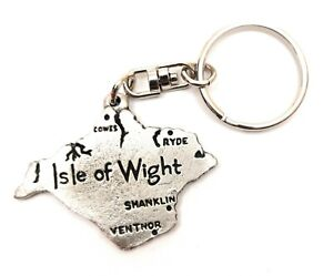 Isle of Wight Map Pewter Hand Crafted in UK Key Ring in Gift Pouch