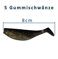 5 Gummifische 8cm Shads Gummischwanz Dorsch Heilbutt Angeln Angelhotspot X2