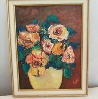 """Painting flower po t"""" Roses"""" Signed.  Peinture pot de fleur"""" Roses"""" signée LYK"""