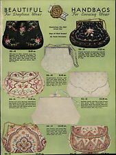 1937 PAPER AD French Seed Pearl Bugle Bead Hand Bag Purse Beauvals Embroidered