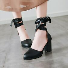 Women Round Toe Block Heels Lace up Synthetic Pumps Casual Summer Shoes size