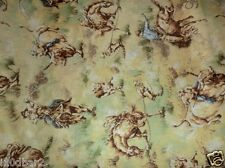 Cowboy & Horse Fabric RAWHIDE bucking horses & cowboys rodeo scenic BTY NEW