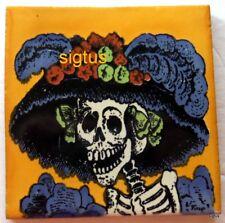 Dia de Los Muertos ~ Day of the Dead 4 x 4 GOLDEN YELLOW KATRINA tiles!