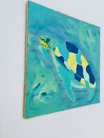Acrylic Painting Abstract Sea Turtle Canvas Wall Art Nautical Style Home Decor