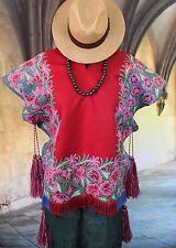 Poncho Red, Pink & Green - Hand Woven Mayan village of Zinacantan Chiapas Mexico