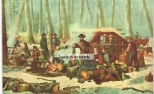 CURRIER and IVES American Forest Scene Maple Sugaring 1952 Print