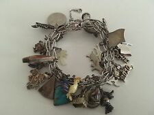Vintage Elco ? Sterling Silver 925 Twist Charm Bracelet 29 Charms 69.9 Grams
