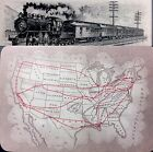c1890 Historic Railroad Locomotive U.S. Railway Map Playing Card Train Single