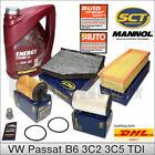VW Passat 3C B6 1.9 & 2.0 TDI | Inspektionspaket Filterset + 5L MANNOL 5W30 Öl