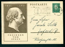 1931 Germany Stein slogan postmark used postal stationery postcard