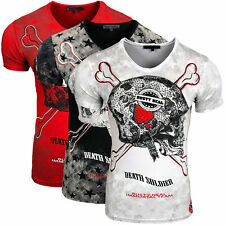 Rusty Neal Herren T-Shirt Skull 15164 schwarz weiß rot