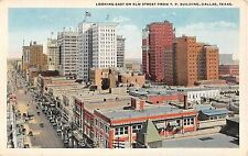 c.1920 Stores Elm St. looking East from TP Building Dallas TX postcard
