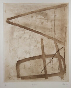 Fred CRESS 'Queens' original etching, abstract minimal earth toned collectable