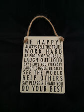 """""""BE HAPPY .. DO YOUR BEST"""" RETRO SHABBY CHIC METAL SIGN"""
