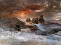 Dream-art Oil painting Bears prey on the ice in the sunset landscape hand paint