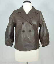 TEX BY MAX AZRIA Chocolate Brown Distress Leather Collared Jacket size M