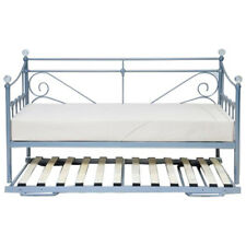 Silver Metal Finish Day Bed Daybed Frame and Trundle Guest Underbed | Single 3ft