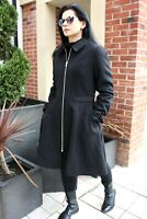 ASOS DESIGN Black Zip Front Swing Fit Flare Coat Trench Military Jacket 4 to 18