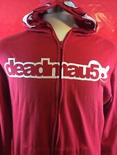 Deadmau5 EDM full zip full head lightweight hoodie Size M Deadmaus Red