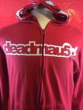 Deadmau5 EDM full zip full head lightweight hoodie Size M Deadmaus Red