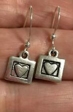 Heart Square Dangle Earrings Sterling Silver Plated Small