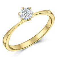 9 Ct Oro Amarillo Anillo Solitario Diamante De Compromiso 0,25 Quilates 0,33ct