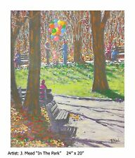 "J. Mead Original Oil Painting ""In The Park"" On Sale 75% off from Regular Price!!"