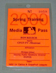 Official 2000 Montreal Expos Spring Training Baseball Media Pass