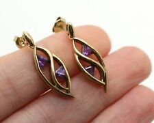 9ct Gold Hallmarked Amethyst Drop Earrings 3.8g Yellow Gold Cut Out