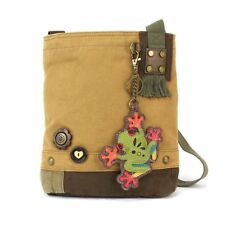 New Chala Handbag Patch Crossbody FROG Brown Bag Canvas w/ Coin Purse Gift