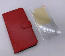 PU Leather Flip Case for HTC U11 Red W Screen Protector Cover Wallet New