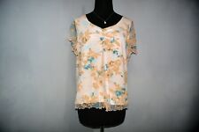 Ladies Gorgeous Peach Floral Mesh Overlay Top. Size M.  FREE POSTAGE