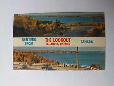 THE LOOKOUT POSTCARD GREETINGS CALLANDER ONTARIO CANADA LAKE OLD CARS