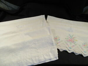 LOT of Vintage Cotton Embroidered Pillowcases - 10 Pair