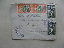 CEYLON, cover to England 1949, rich franking coconut palm, tree