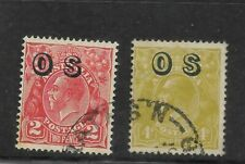 Australia Scott #O3-#O4 used 1932 Official Stamps lightly canceled f/vf sound