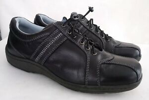 Easy Spirit Aviators Women's Black Leather Bicycle Lace Up Slip On Shoe 9 W Wide