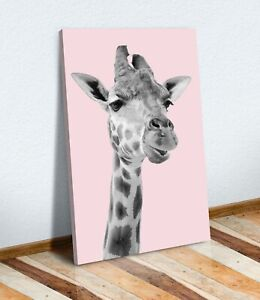 GIRAFFE BABY PINK BLACK AND WHITE CANVAS WALL ART PRINT ARTWORK