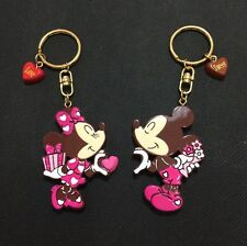 2x Sweet Pink Disney Mickey & Minnie Mouse Alloy Key Rings/Chains Bag Charms New