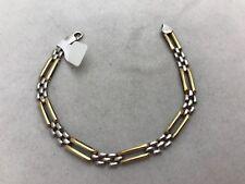"Sterling Silver .925 & Gold Two Tone 1/4"" Wide 8 1/4"" Bracelet"