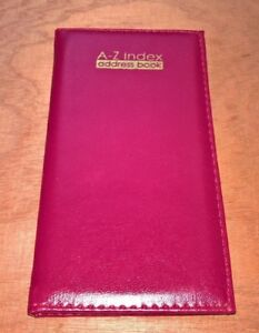 Padded slim a-z address book choice of colours  size approx.17cm x 9cm